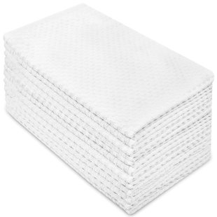 Cotton Craft - 12 Pack - Euro Cafe Waffle Weave Terry Kitchen Towels